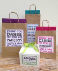 personalised paper wedding gift bags party favour with tissue brown