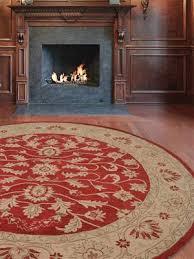 vintage hand tufted woollen red gold round rug k00531
