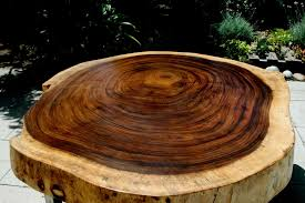 custom made tropical live edge round coffee table by the timber library custommade com