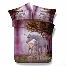 aliexpress com unicorn series kids single bed purple 3d unicorn print bedding set super king size quilt covers queen bedspread from reliable bedding