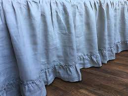 stone grey linen gathered bed skirt with country ruffle hem