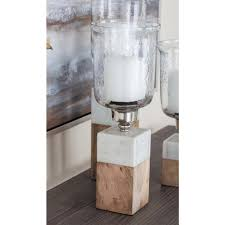wood marble and glass hurricane candle holder 42228 the home depot