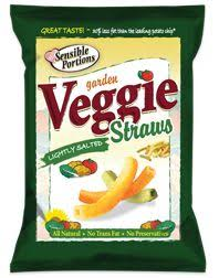 38 veggie straws are 130 calories and they are yummy great for kids too