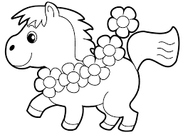 Little Horse Preschool Coloring Pages Animals Cartoon Coloring