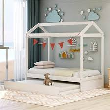 Children House Bed With Trundle Bed For Kids Twin Size Solid Wood Twin Daybed Frame With Trundle Tent Bedroom Furniture Comfort Safe Kitchen Dining