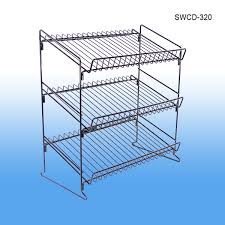 wire shelf countertop display rack with 3 tiers shelves retail merchandising metal