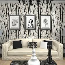 Textured Tree Forest Woods Wallpaper PVC Wall paper Roll For TV Background  Wall Home Decor Wall Paper Black White #C17FP37001