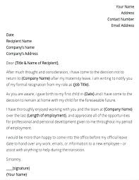 Maternity Leave Letter Template Employer Hostingpremium Co