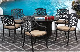 flamingo cast aluminum outdoor patio 7pc set 50 inch round dining fire table series 4000 with sunbrella sesame linen cushion