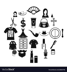 Fashion Designer Logo Design Fashion Designer Icons Set Simple Style