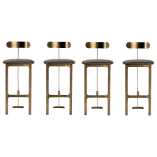 gray leather bar stools set of 4 contemporary bar stools upholstered in grey leather with bronze gray leather bar stools