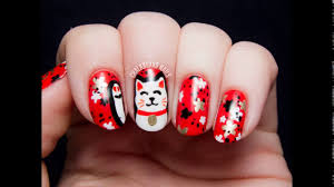 Nail art design for chinese new year 2014 - YouTube