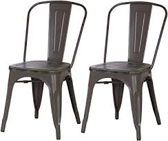 Wooden and metal chairs Designer Metal Adeco Metal Stackable Industrial Dining Bistro Cafe Side Chairs With Wooden Seat Matte Grey Photos Hgtv Amazoncom Dhp Fusion Metal Dining Chair With Wood Seat Distressed