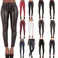 womens leather look trousers las wet look leggings skinny pants size 6 16
