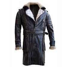 elder maxson fall out distressed leather coat with fur men s leather coat uk
