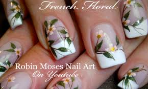 DIY White flower Nails | Wedding French Tip Nail Art Design ...