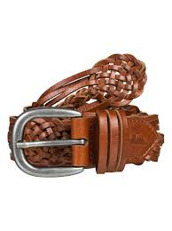 0 quiksilver womens braided leather belt brown eqwaa03002 quiksilver