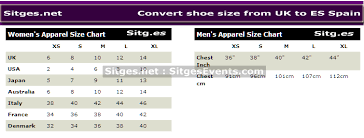 Spanish Clothing Size Conversion Chart New Year Shopping Convert Shoe Clothes Sizes From Uk To Es