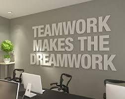 wall art office. Teamwork Makes The Dreamwork, 3D, Office Wall Art, Typography Decor, Quotes Art A