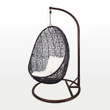 black co swing chair white cushion