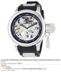 deal of the day 1395 invicta men s 1088 russian diver mechanical amazon is selling the invicta men s 1088 russian diver mechanical skeleton watch for only 139 99 shipped originally priced at 1395