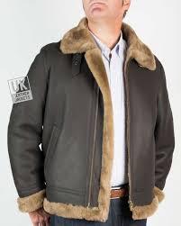 mens finest shearling aviator jacket semi matt brown brown wool front