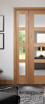 shaker 4 light internal oak door with clear glass smaller style door image