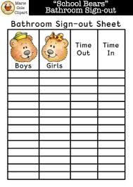 "School Bears"" Bathroom Sign-Out Printable [Marie Cole Clipart] 