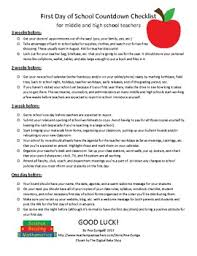 School Checklist First Day Of School Countdown Checklist By Teaching From A Z Tpt