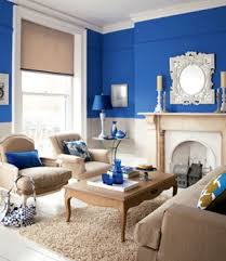 I blue-here we have bright blue walls (indigo?) in a living room with white  trim. Would have to say my preference is more towards purple-blues.