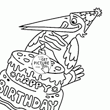 Funny Crow And Happy Birthday Coloring