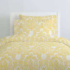 white and yellow vintage damask duvet cover