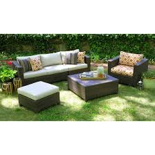 Biscayne 5 Piece Wicker Sectional Seating Patio Furniture Set Tar