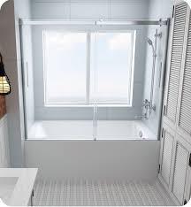 oceania hy hydria 58 3 8 alcove rectangular bathtub door in chrome clear