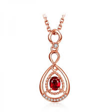 genuine red ruby diamond pendant necklace rose gold necklace with ruby pendant images