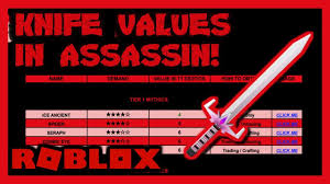 Roblox Assassin Value List March 2019 New Link