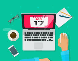 Download Calendar Events Planning Management Concept, Person Work Desk  Organizer Laptop Stock Vector - Image
