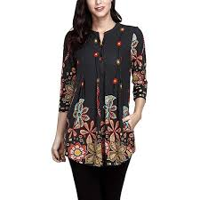 Deatu New Women Button V Neck Printing Casual Tops Ladies