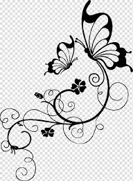Flower And Butterfly Stencil Designs Butterfly Tattoo Insect Template Girl Result Transparent