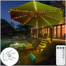Umbrella Lights Dbfairy Patio Umbrella Lights Market Umbrella String Lights Battery Operated 8 Ribs 104 Led Remote Control Timer Dimmable 8 Mode Easy To Use Twinkle