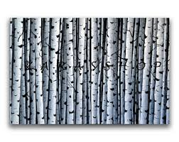 wall art white birch trees