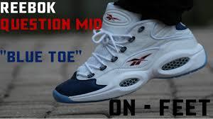 reebok question blue toe. reebok question 1 mid blue toe on feet reebok question blue toe n