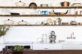 Cozy Kitchen Wall Shelving Ideas With White Paint Color And Brown Wooden  Long Storage ...