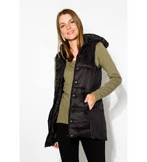 black jayce long puffer vest