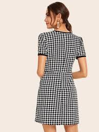Flap Pocket Detail Houndstooth Ringer Dress