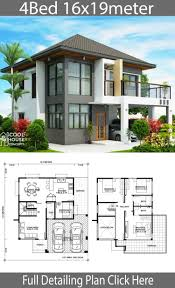 Home design plan 16x19m with 4 Bedrooms - Home Ideas | House construction  plan, Modern house design, Architectural house plans