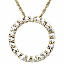 lab created white sapphire circle pendant in 14k gold