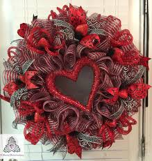 valentine s day red silver heart ruffle deco mesh wreath