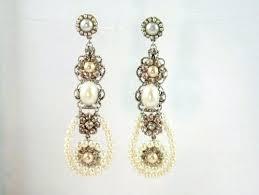 pearl and crystal chandelier earrings chandelier earrings bridal chandelier filigree and crystal rhinestone and pearl earrings