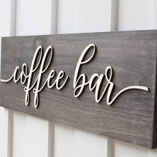 wooden coffee bar sign